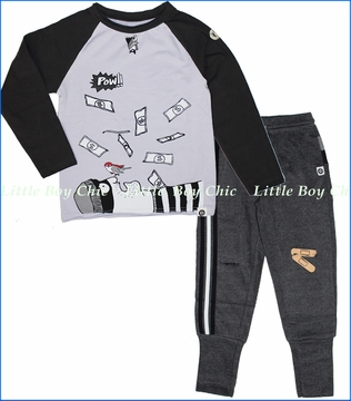 Mini Shatsu, Bat and Robin Tee with Band Aid Sweatpants