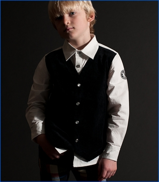 Mini Shatsu, Classic Black Vest Buttoned Shirt (c)