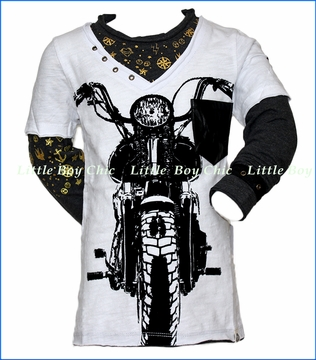 Mini Shatsu, LS Vintage Biker 2fer in White