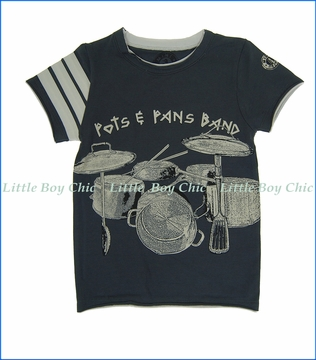 Mini Shatsu, Pots & Pans Band T-Shirt in Blue