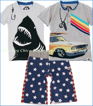 Mini Shatsu, Shark Bite and Surf Wagon Tops with Stars n Stripes Shorts