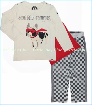 Mini Shatsu, Super Duper Heroes Tee with Quilted Checker Pants