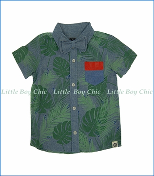 Mini Shatsu, Tropical Forest Bowtie Shirt in Blue