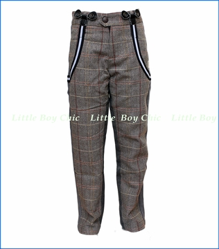 Mini Shatsu, Tweed Herringbone Suspender Pants in Multicolored