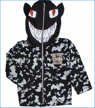 Monster Republic, Bat Fleece Zip Hoodie in Black (c)
