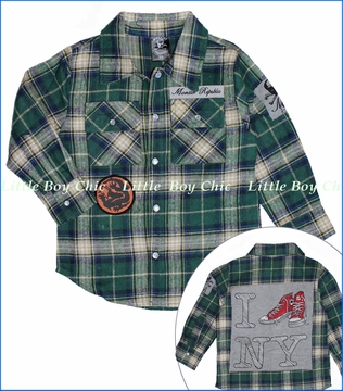 Monster Republic, Green Plaid Flannel Shirt (c)