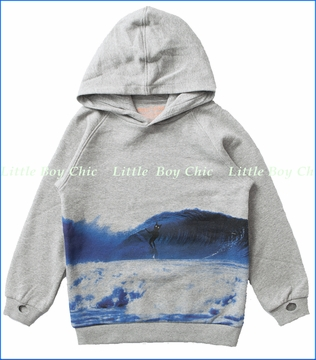 Munster, Barrels Hooded Sweatshirt in Grey Marle