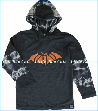 Nano, Bat Hooded 2fer Tee in Jet (c)