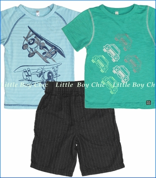 Nano, Cars and Bi-planes Tee with Ticking Stripe Shorts