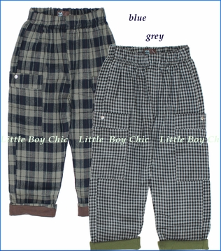 Nano, Flannel Lined Plaid Pants in Grey or Blue (c)