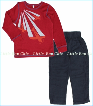 Nano, Planes Thermal with Ticking Stripe Pants