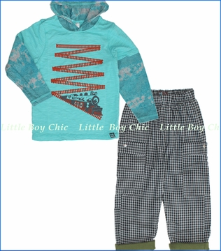 Nano, Train Hooded 2fer with Flannel Lined Plaid Pants in Grey