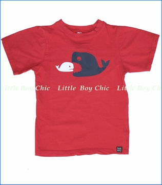 Nano, Whale Tee in Red (c)
