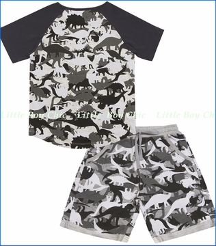 Paper Wing, Dinoflage Organic Outfit Set in Multi Grey