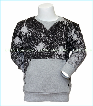 Paper Wings, Hanging Spiders Organic Sweater in Grey