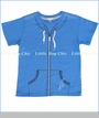 Petit Lem, Printed Zip Tee in Blue (c)