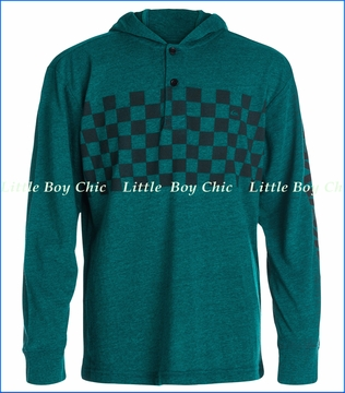 Quiksilver, Checker Hooded Pullover in Bayou Heather (c)
