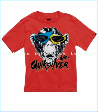 Quiksilver, Monkey Biz Tee in Chinese Red (c)