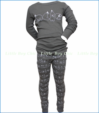 Skylar Luna, Polar Bears Organic Pajama Set in Grey