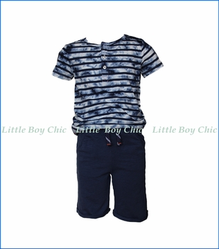 Splendid Littles, Tie Dye Henley Short Set in Blue