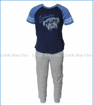 Splendid Littles, Two-Piece Athletic French Terry Pant Set in Blue