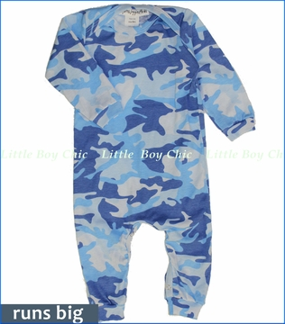Thingamajiggies 4 Kids, Blue Camo Baby Jumpsuit (c)