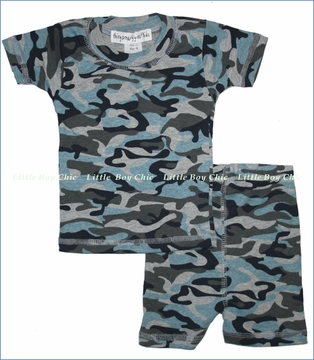Thingamajiggies 4 Kids, Blue Camo Short Pajama Set (c)