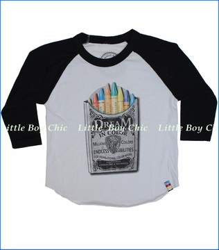 Tiny Whales, Dream in Color Raglan Tee in Silver (c)