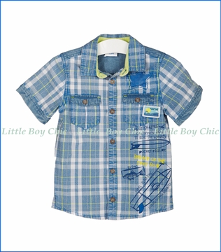 Tuc Tuc, Ride The Waves Plaid Shirt in Blue