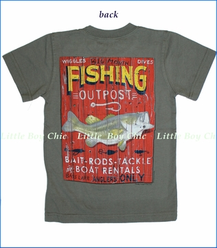 Wes and Willy, Big Mouth Outpost Tee in OD Green (c)