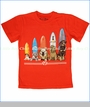 Wes and Willy, Dogs and Surfboards Tee in Tangerine (c)