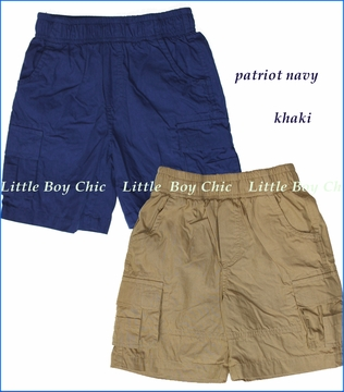 Wes and Willy, Elastic Waist Cargo Shorts in Patriot Navy or Khaki (c)