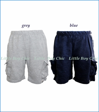 Wes and Willy, Jersey Cargo Shorts in Midnight Blue and in Charcoal