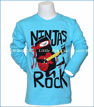 Wes and Willy, L/S Ninjas Rock T-Shirt in Blue