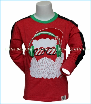 Wes and Willy, L/S Santa Headphones T-Shirt in Red