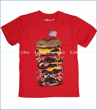 Wes and Willy, Mega Burger Tee in NE Red (c)
