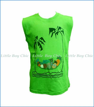 Wes and Willy, Palm Pineapple Tank Top in Green