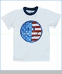Wes and Willy, Smiley Flag Tee in White (c)