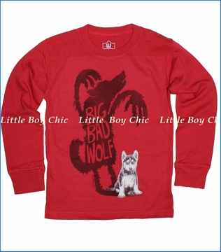 Wes & Willy, Big Bad Wolf Tee in Tomato