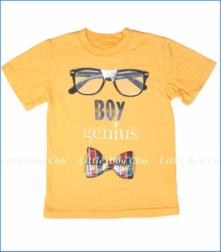 Wes & Willy, Boy Genius Tee in Bold Gold (c)