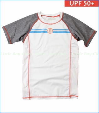 Wes & Willy, Striped Logo UPF 50+ Rash Guard in White