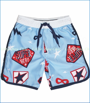 Wes & Willy, Superhero Swim Trunk in NC Blue (c)