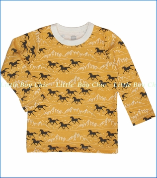 Winter Water Factory, Horses Organic Tee in Yellow (c)