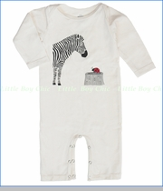 Winter Water Factory, Stripes & Dots Organic Coverall in Natural (c)