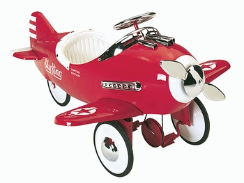 All Steel Ride-on Pedal Plane In Red Or Silver