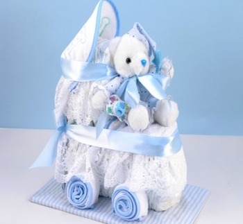 Baby Boy 2 Tier Diaper Carriage Cake