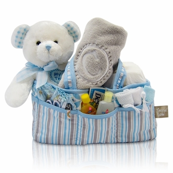 Baby Boy Diaper Tote With Personalized Blanket