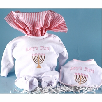 """Baby Girl's Personalized """"First Hanukkah"""" Outfit"""