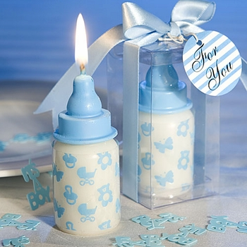 Blue Baby Bottle Candles