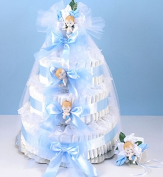 Blue Diaper Cake With Corsage
